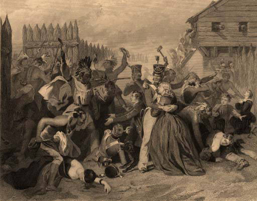 Engraving of a painting depicting the massacre at Fort Mims on August 30, 1813