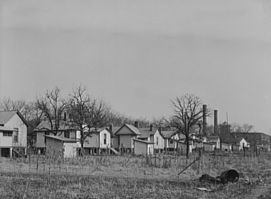 Company houses near cotton mill. Gadsden, Alabama December 1940 by photographer John Vachon Library of Congress