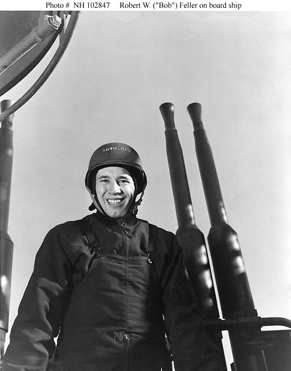 """Bob Feller in Navy"" by U.S. Navy Photograph - http://www.history.navy.mil/photos/images/i02000/i02847.jpg. Licensed under Public Domain via Wikimedia Commons - http://commons.wikimedia.org/wiki/File:Bob_Feller_in_Navy.jpg#/media/File:Bob_Feller_in_Navy.jpg"