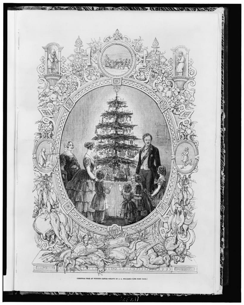 Christmas tree at Windsor Castle 1848 library of Congress