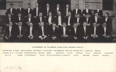 University of Alabama Glee Club, Season 1913-1914 State archives