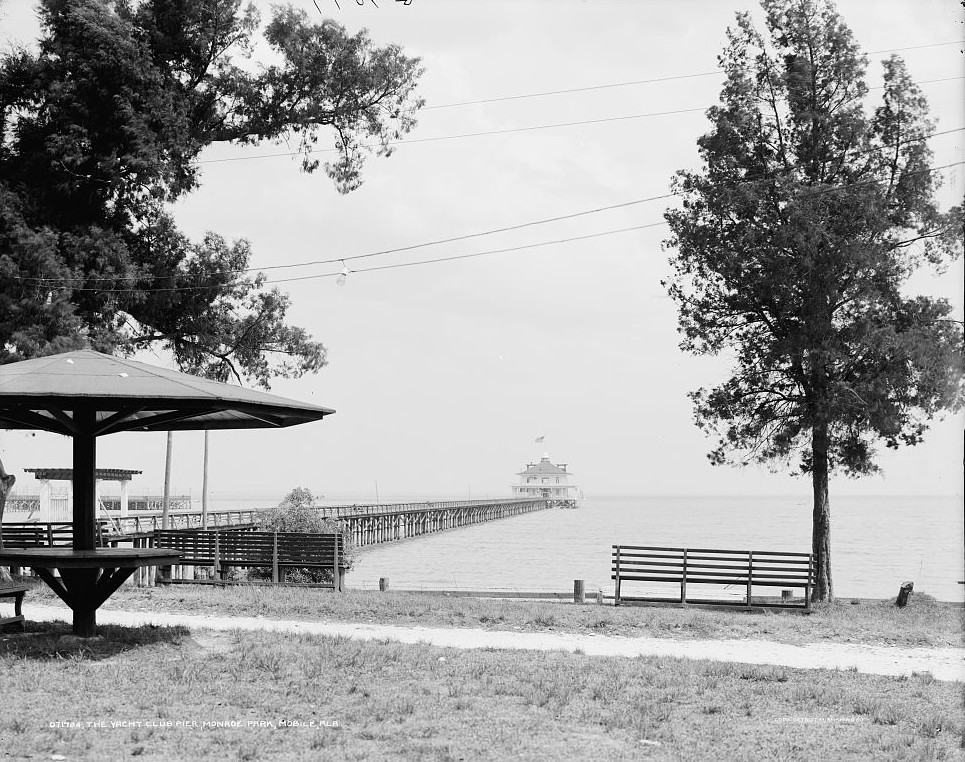 Yacht Club Pier, Monroe Park, Mobile, Alabama - ca. 1900 - Detroit Publishing Company
