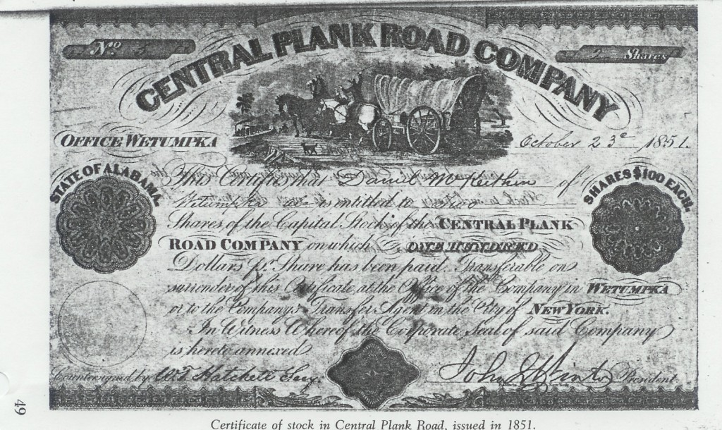 Central Plank Road certificate