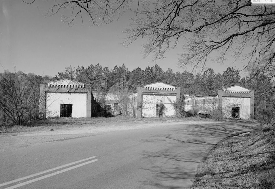 THREE ENTRANCES TO FORMER COMPANY MEAT, GROCERY AND DRY GOODS OPERATIONS. - Mulga Commisary, Off AL 269 at I 20-59, Birmingham, Jefferson County, AL ca. 1940