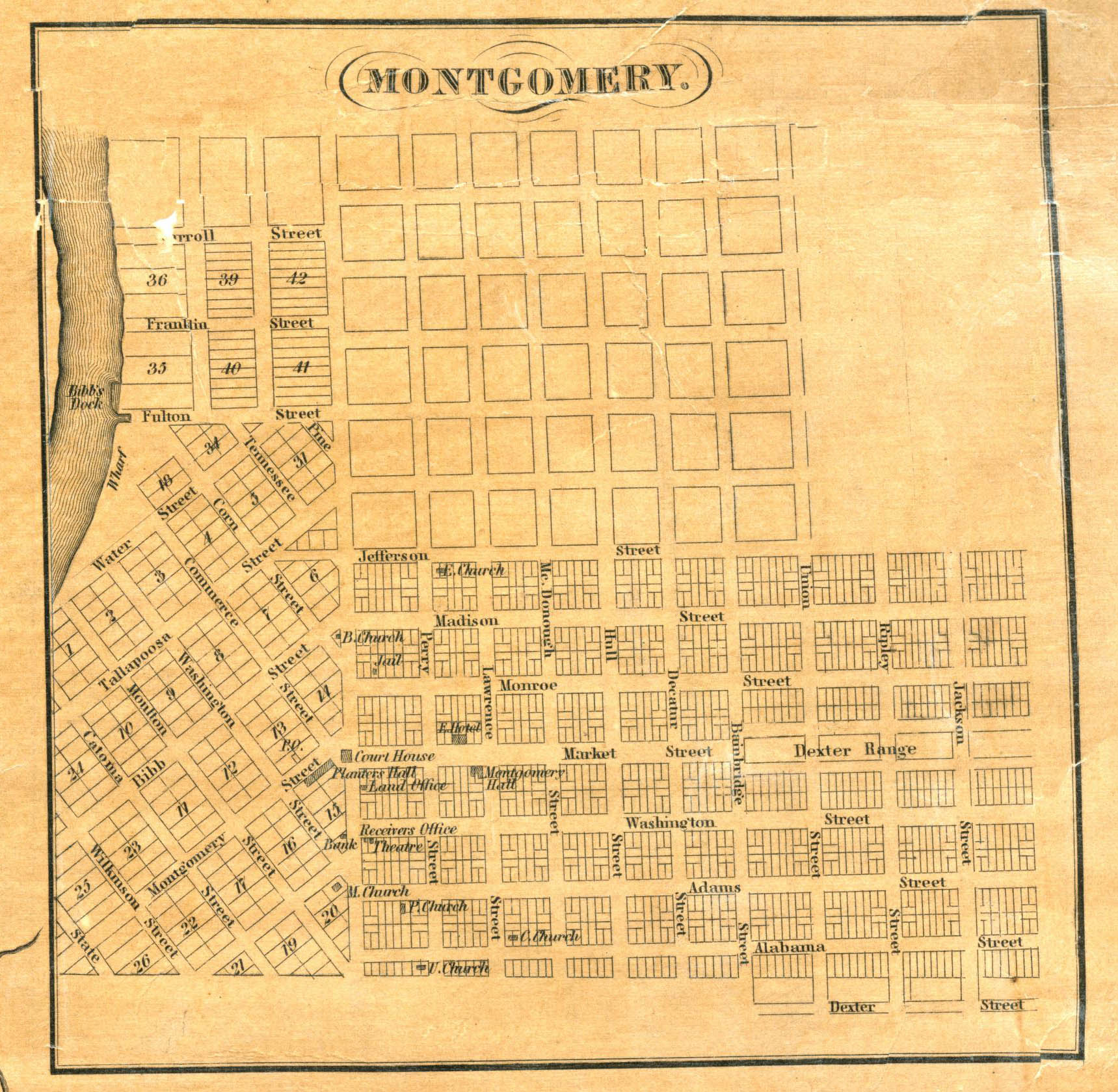 Map of early Montgomery Alabama with names of the earliest settlers