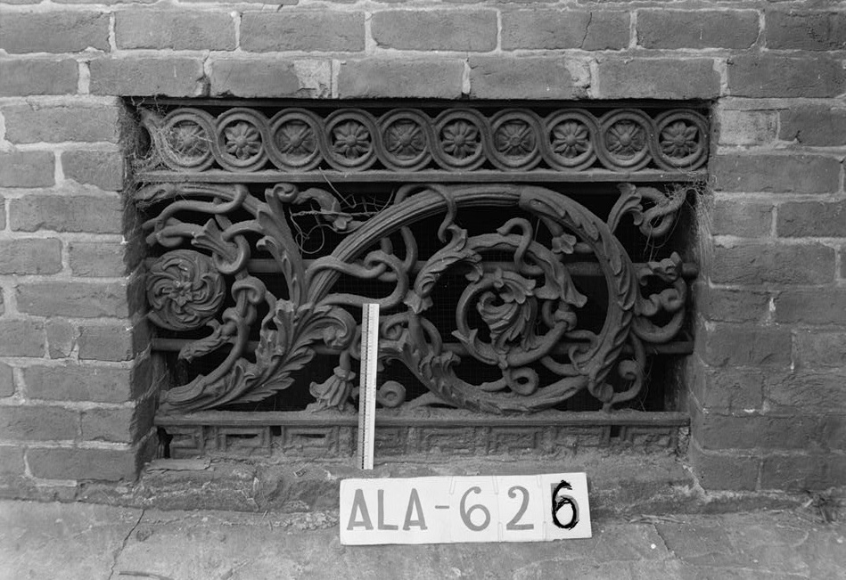 W. N. Manning, Photographer, July 12, 1935 IRON GRILLE IN VENTILATOR ON FRONT OF HOME - Figh-Pickett House, 14 Clayton Street, Montgomery, Montgomery County, AL