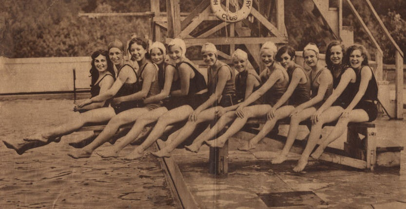 girls at Cahaba Golf and country club pool August 10, 1930