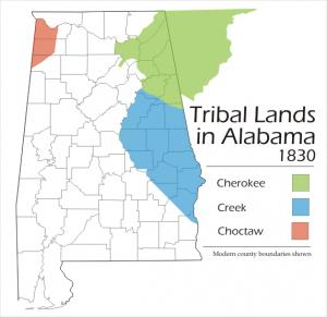 Alabama tribal lands in Alabama 1830