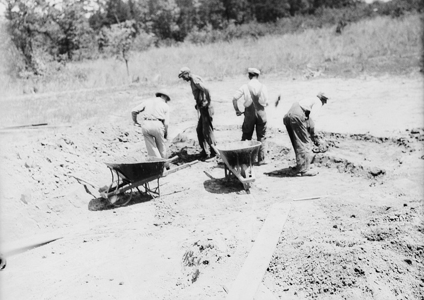Digging dirt used in rammed earth construction near Birmingham, Alabama Thomas Hibben