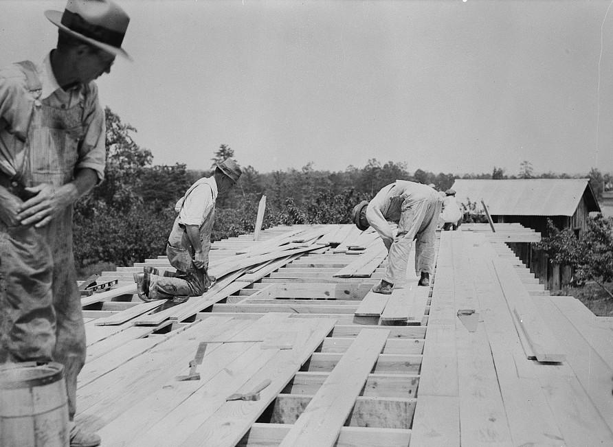 Rammed earth construction near Birmingham, Alabama 1937 Thomas Hibben