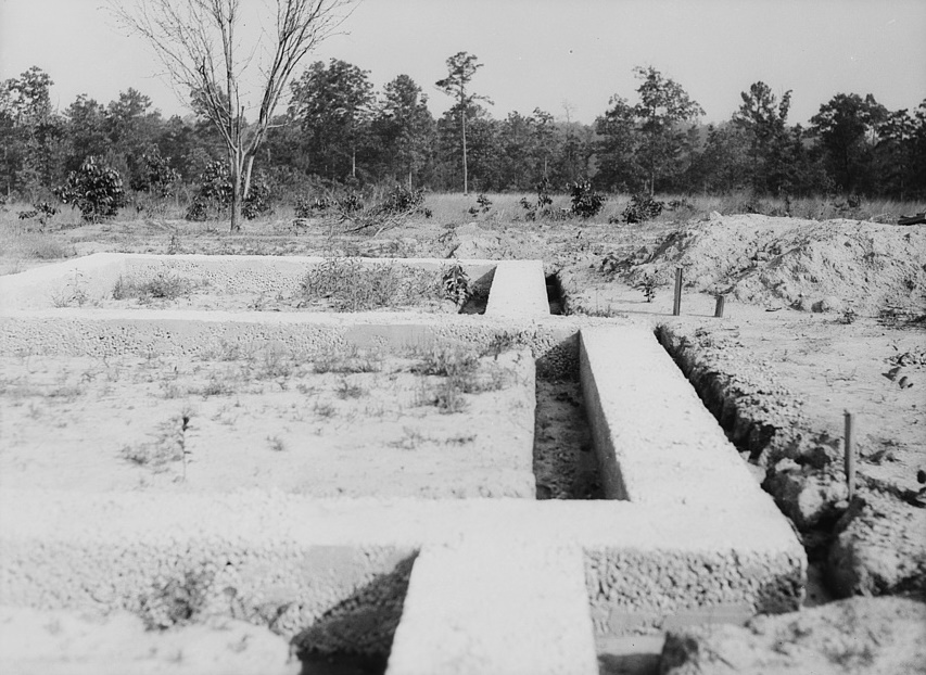 Rammed earth construction near Birmingham, Alabama. A depth of eleven inches is adequate for footings in the Gulf and South Atlantic states2