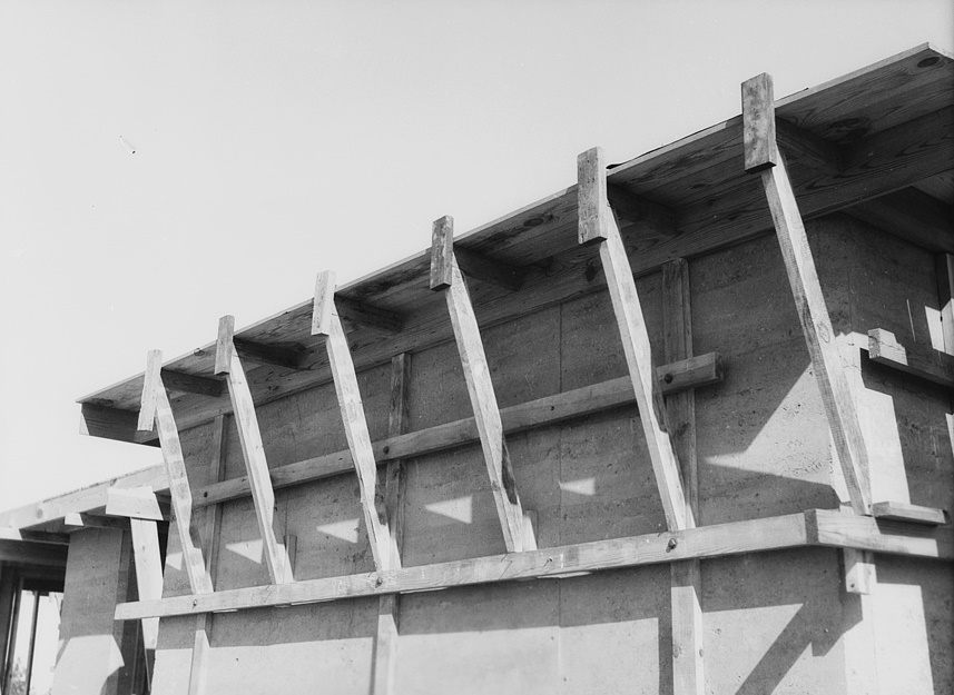 Rammed earth construction near Birmingham, Alabama. Concrete slate roofs may be used in place of wood decks