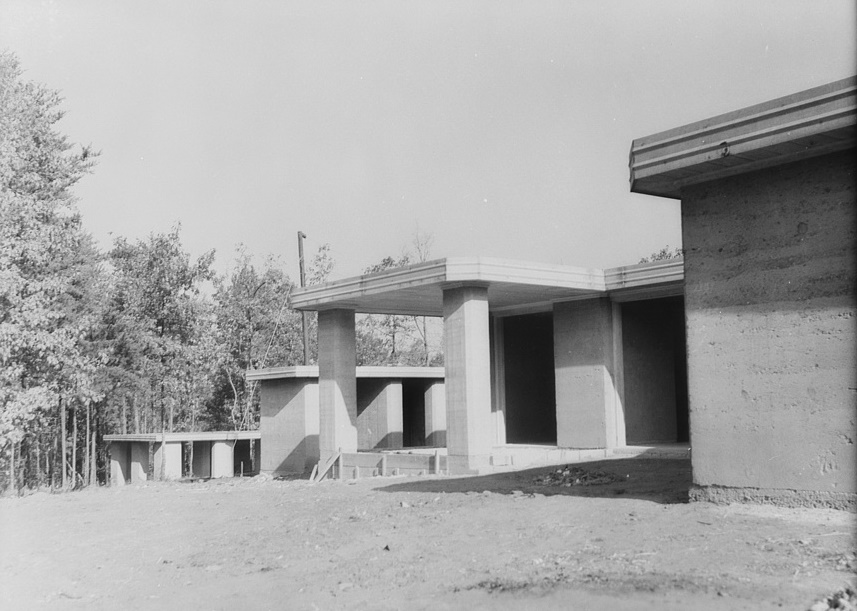 Rammed earth houses nearing completion near Birmingham, Alabama