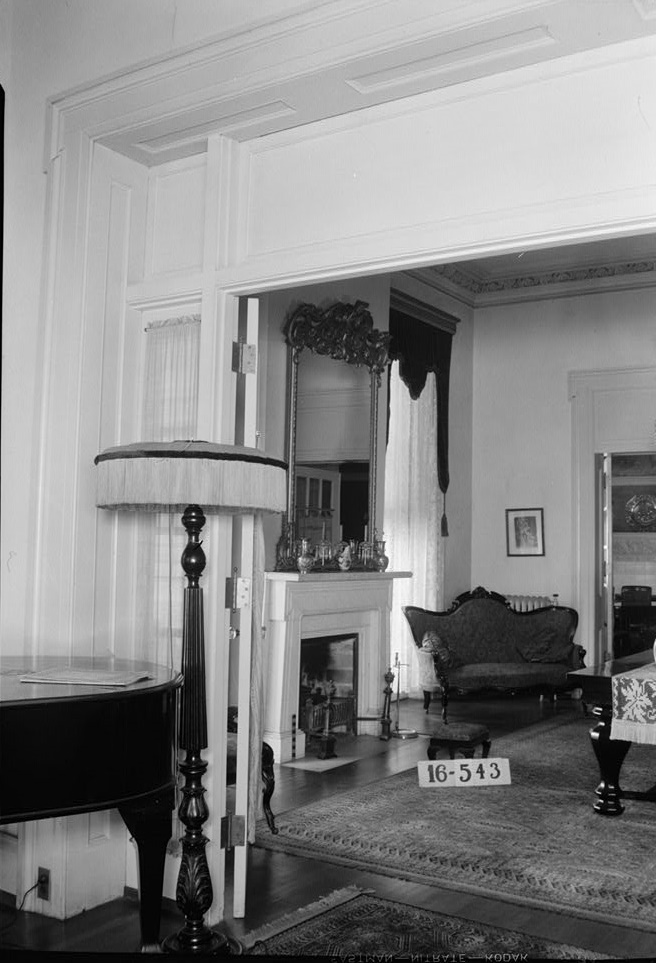 Survey W. N. Manning, Photographer, March 30, 1934. VIEW THROUGH DOUBLE DRAWING ROOMS INTO DINING ROOM. - Grey Columns, Old Montgomery Road (Institute Road), Tuskegee, Macon County, AL