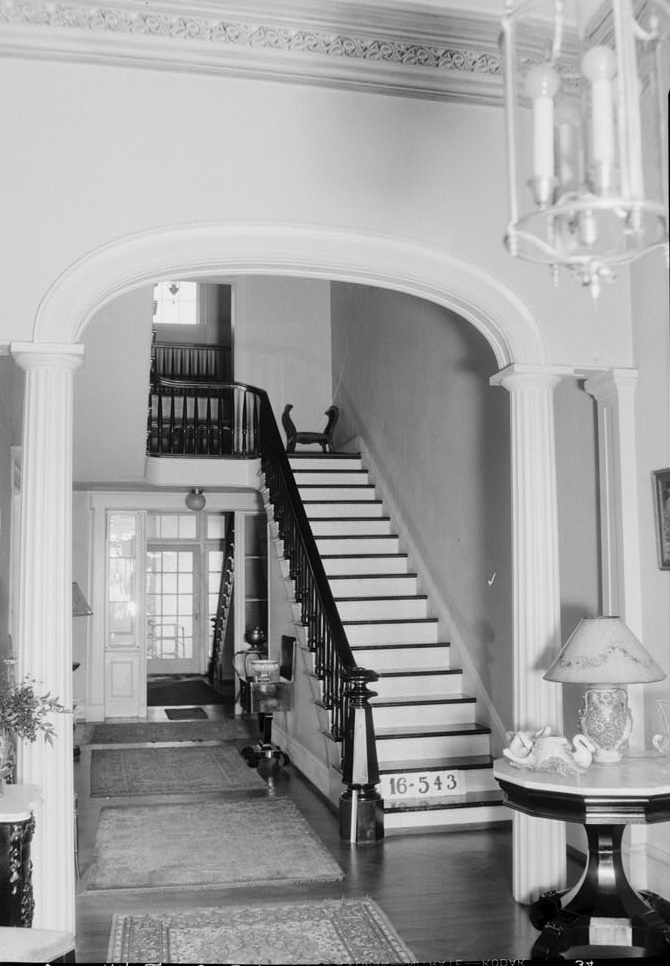 W. N. Manning, Photographer, April 3, 1934. STAIR CASE AND HALL. - Grey Columns, Old Montgomery Road (Institute Road), Tuskegee, Macon County, AL
