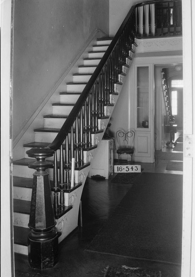 W. N. Manning, Photographer, March 30, 1934. STAIRWAY. (REAR) - Grey Columns, Old Montgomery Road (Institute Road), Tuskegee, Macon County, AL