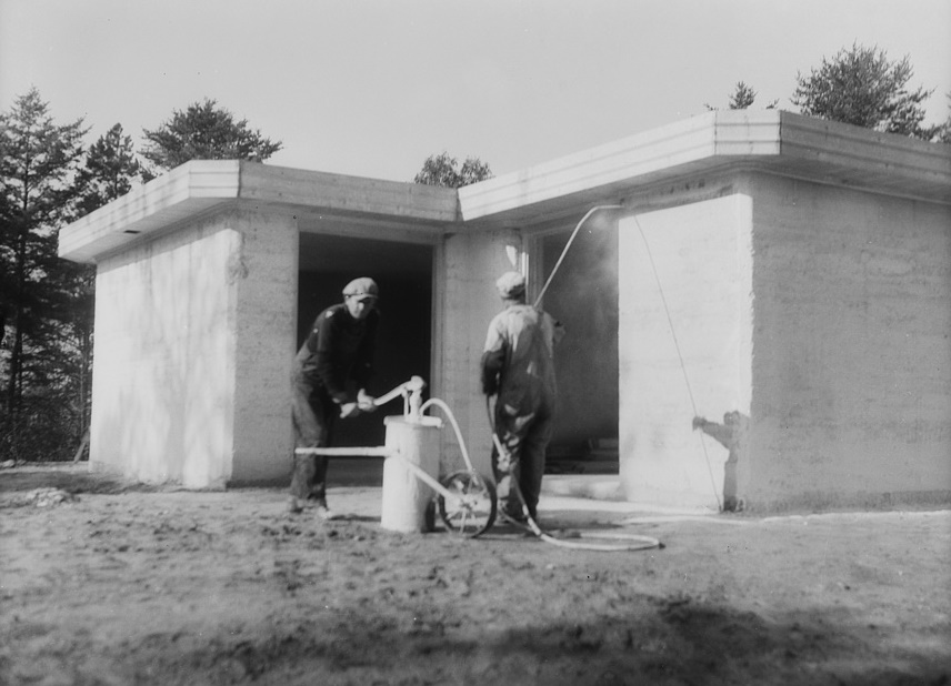 Whitewashing rammed earth house near Birmingham, Alabama 1937 Thomas Hibben