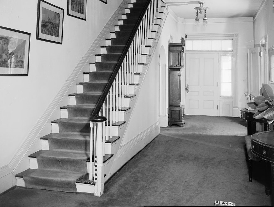 Arlington Alex Bush, Photographer, March 4, 1937 REAR HALL (GENERAL VIEW) SHOWING STAIRS - Arlington Place, 331 Cotton Avenue, Southwest, Birmingham, Jefferson County, AL