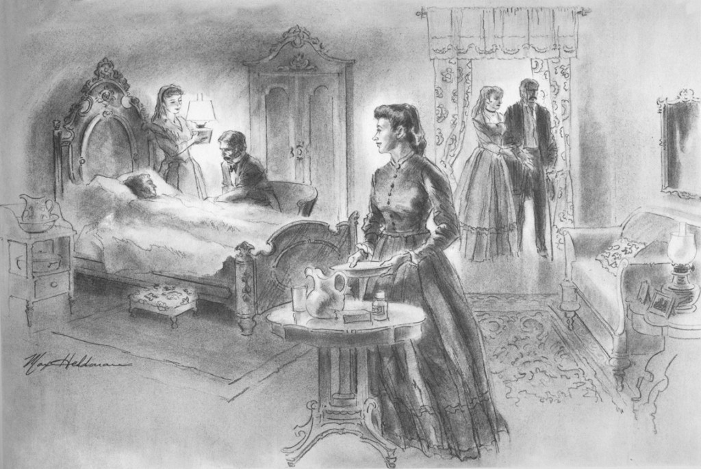 Artist Max Heldman's depiction of Wooster helping the sick and dying during the cholera epicdemic in Alabama