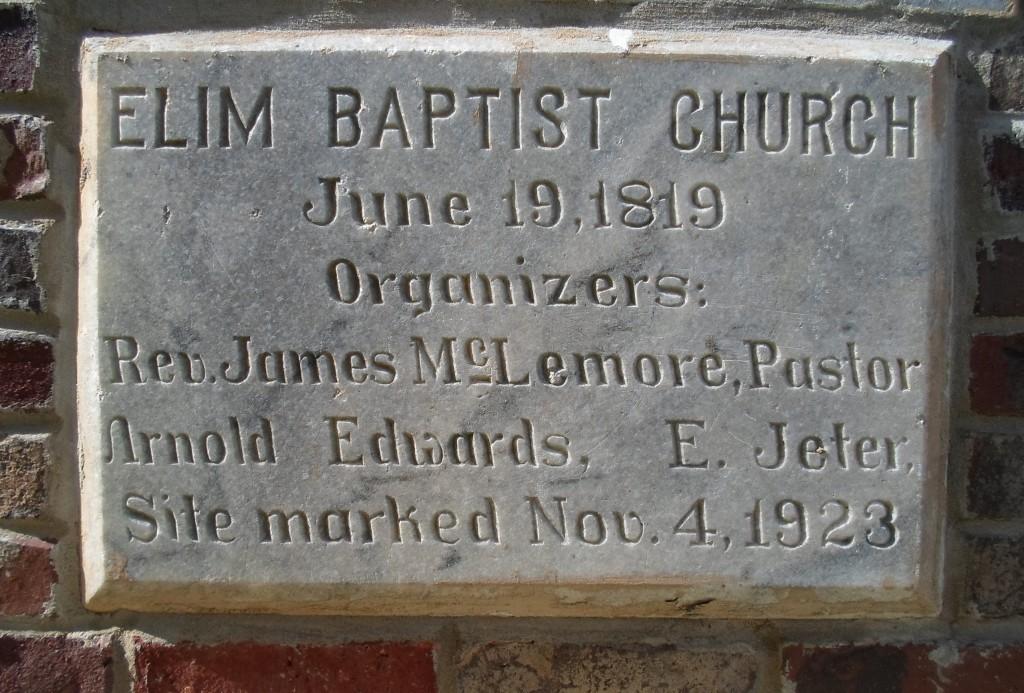 Elim Baptist Church est. 1819