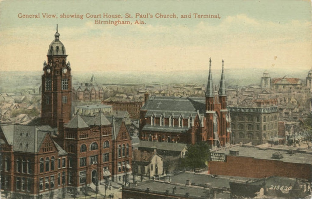 General View, showing Court House, St. Paul's Church, and Terminal, Birmingham, Ala.