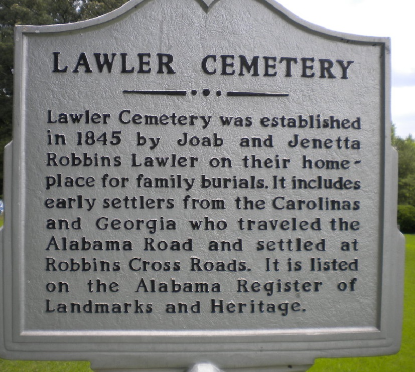 Lawler cemetery sign, jefferson county