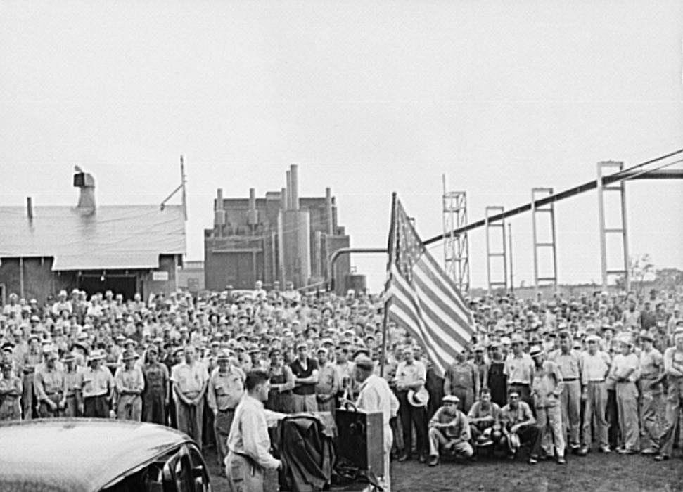 Wilson Dam, Alabama (Tennessee Valley Authority (TVA)). Safety and patriotic meeting at TVA chemical plant June 1942 Arthur Rothstein2