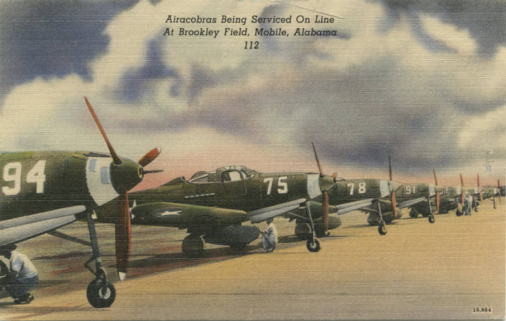 Airacobras Being Serviced On Line At Brookley Field, Mobile, Alabama 1940s adah