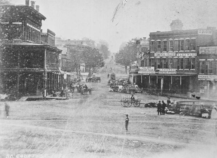 Copy photograph of Court Square in downtown Montgomery, Alabama, looking south down South Court