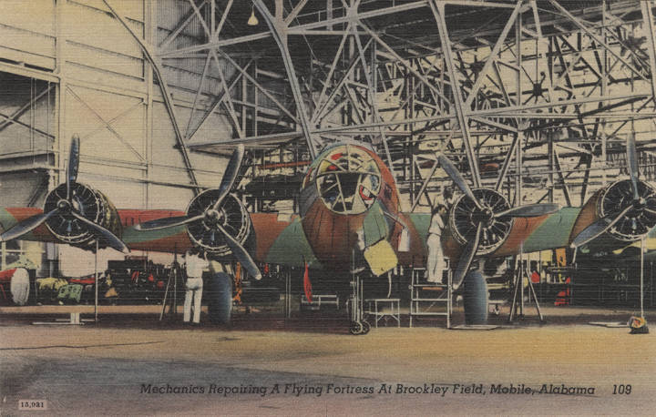 Mechanics Repairing a Flying Fortress at Brookley Field, Mobile, Alabama adah