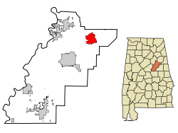 Munford map in Talladega County, Alabama