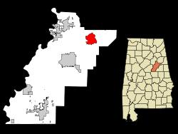 Munford map in Talladega County, Alabama