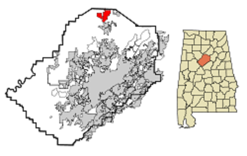 Warrior Alabama Jefferson_County_Alabama_Incorporated_and_Unincorporated_areas_Warrior_Highlighted