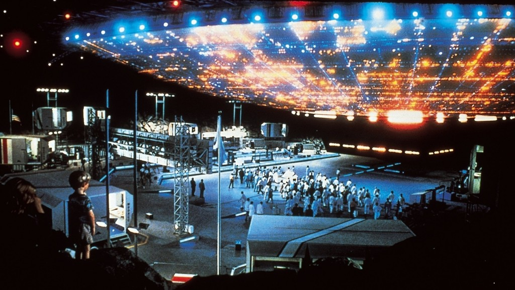This scene from the Close Encounters of the Third Kind was filmed inside one of the Brookley hangers