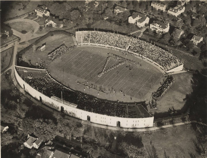 Aerial view of Denny Stadium at the University of Alabama ca. 1930s with Million Dollar forming an A