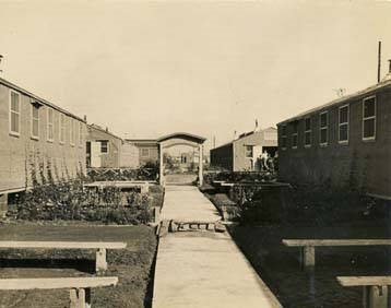 Gardens and pathway between barracks at the German POW camp in Aliceville, Alabama