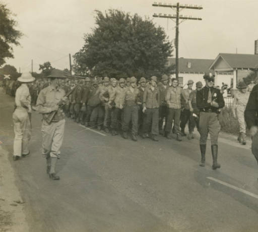 German prisoners of war marching to camp in Aliceville4