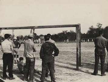 German prisoners of war playing soccer at the POW camp in Aliceville, Alabama