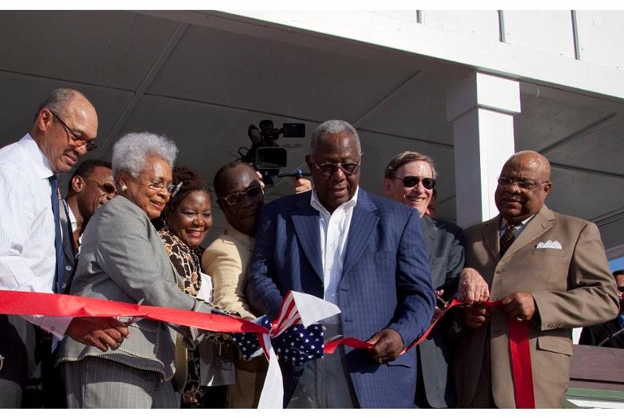 Hank aaron ribbon cutting