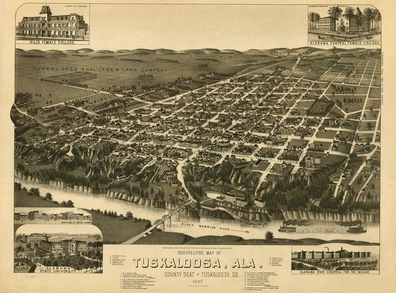Map of Tuscaloosa, Alabama 1887 (Library of Congress)