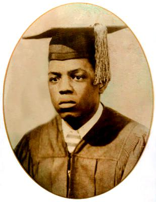 Mays in high school graduation cap and gown. Image courtesy of the Birmingham Public Library Archives.