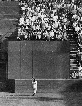 Mays making the famous catch. Image courtesy of Wikipedia