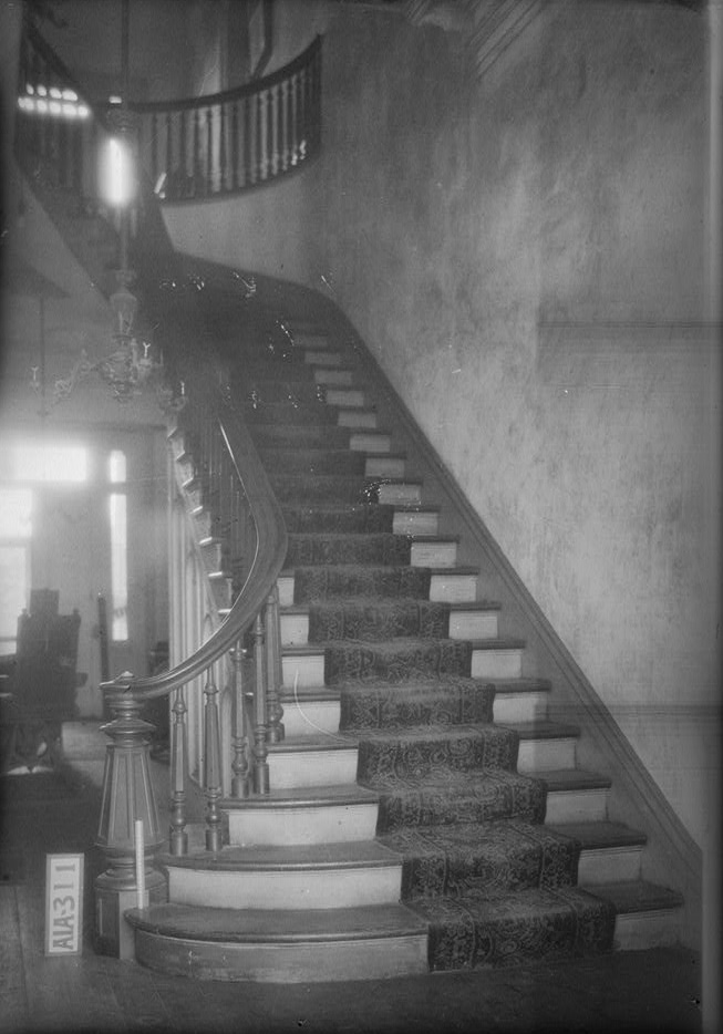 Rocky Hill Castle winding stairs by photographer Alex Bush 1935 (Library of Congress)