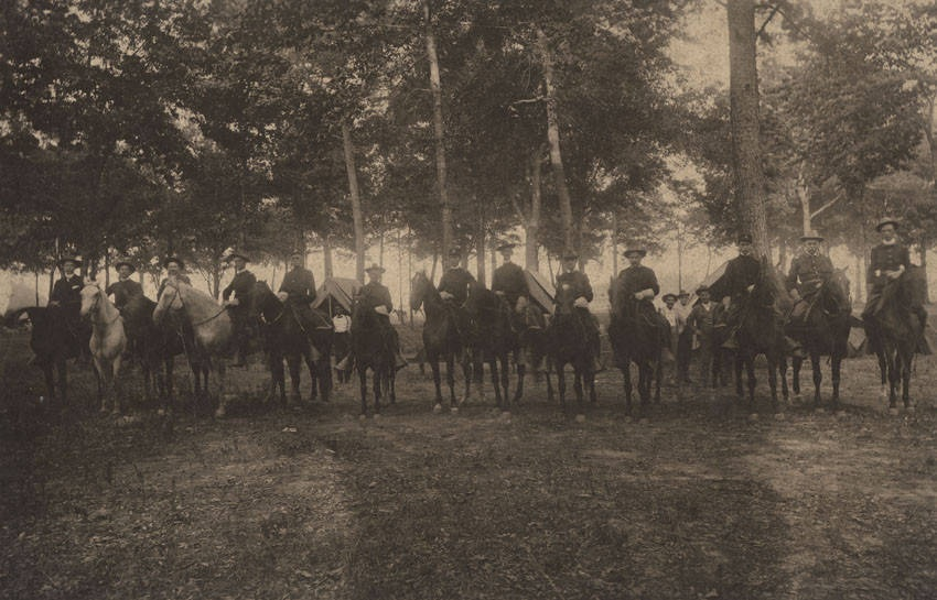 Brigadier General William C. Oates and staff on horseback at a camp during the Spanish-American ca. 1898 (Alabama Department of Archives & History)