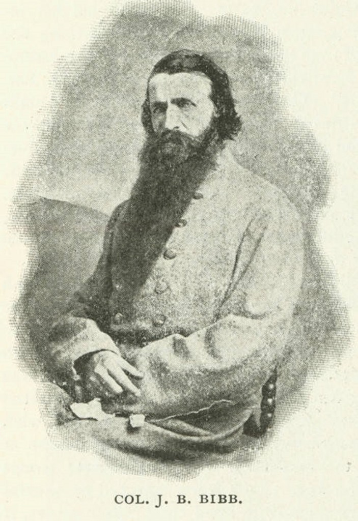 Colonel J. B. Bibb – Joseph Benajah Bibb, initially lieutenant colonel of the 23rd Alabama Infantry, C. S. A. Promoted to colonel late in the war. From Confederate Veteran, vol. 11, pg. 397. Q4183