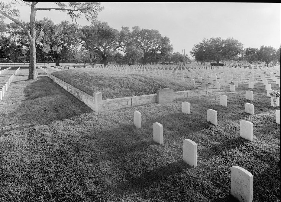 Confederate Breatwork in SE Section of Cemetery, View ot SW- Mobile National Cemetery