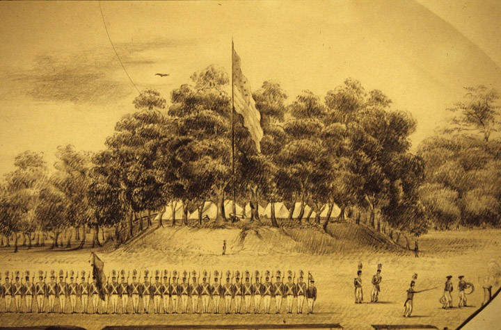 Drawing of the Montgomery True Blues at Camp Owen, near old Augusta, Alabama. ca. 1836 An independent militia (ADAH)