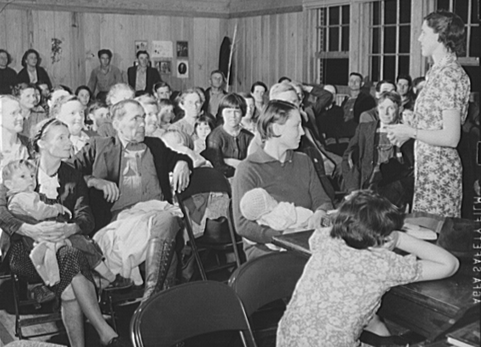 Group of men and women at evening class conducted by Miss Velma Patterson, vocational home ec worker from Elba, and other at Mount Zion school. Coffee County, Alabama