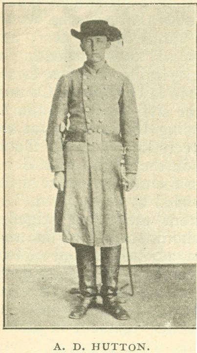 Hutton, Aquila D. Hutton first enlisted as a private in Co. A, 36th Alabama Infantry, C. S. A. This photograph was taken after he had joined Co. H, 12th Mississippi Cavalry