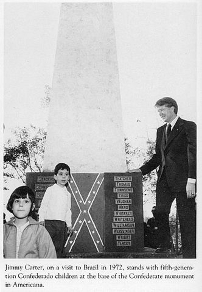 Jimmy Carter with fifth generation children at Confederate monument